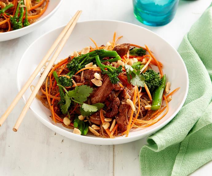 char siu pork and vermicelli noodles