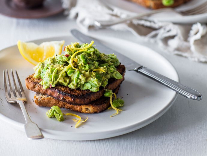 Smashed avocado and edamame on toast