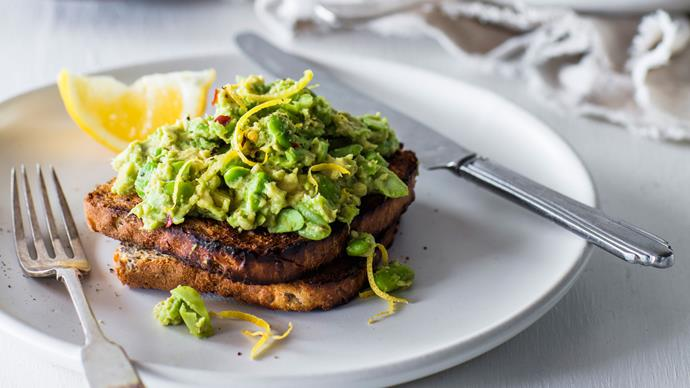 Smashed avocado and edamame on toast