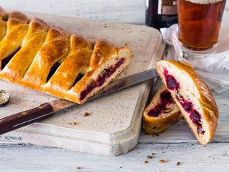Beetroot, blue cheese and walnut braided bread
