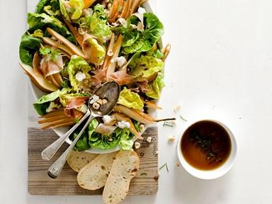 Pear, honey, hazelnut and prosciutto salad