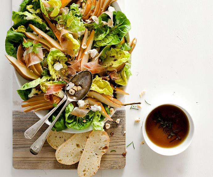 Pear, honey, hazelnut and prosciutto salad