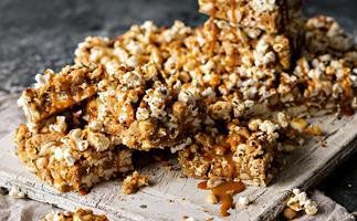 Sticky peanut popcorn blondies