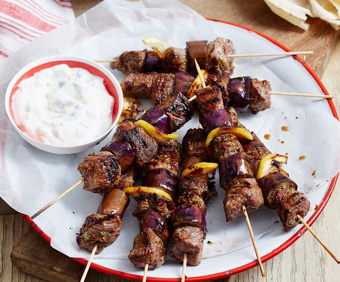 Maple mustard lamb skewers
