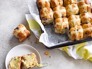 Chocolate and apricot hot cross buns