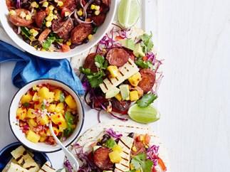 Chorizo, bean and haloumi tortillas