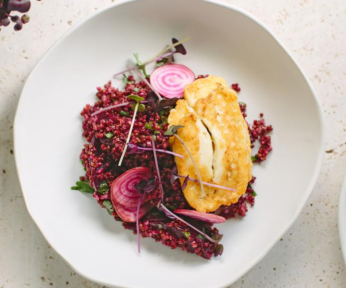 Quinoa and beetroot salad with grilled haloumi and preserved lemon