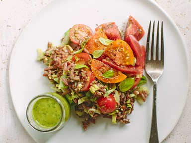 Mixed rice and tomato salad with basil dressing