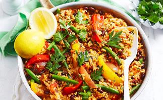Smoky vegetable paella