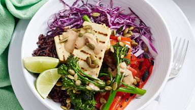 Tofu and pepita satay bowls