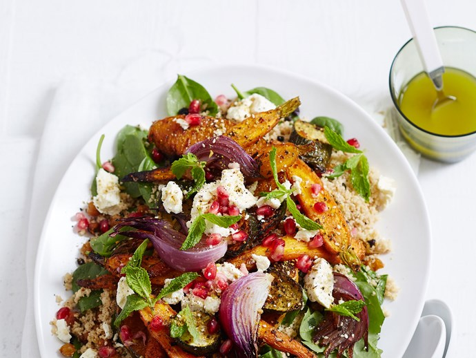 Moroccan spiced carrot, pumpkin and chickpea salad