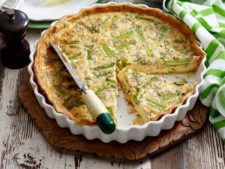 Salmon and asparagus quiche