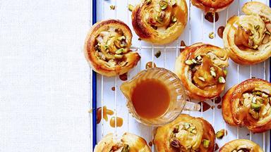 Caramel, apple and pear danish