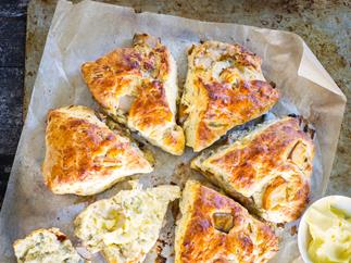 Roasted pear and blue cheese scones
