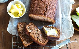 Autumn pear and walnut bread