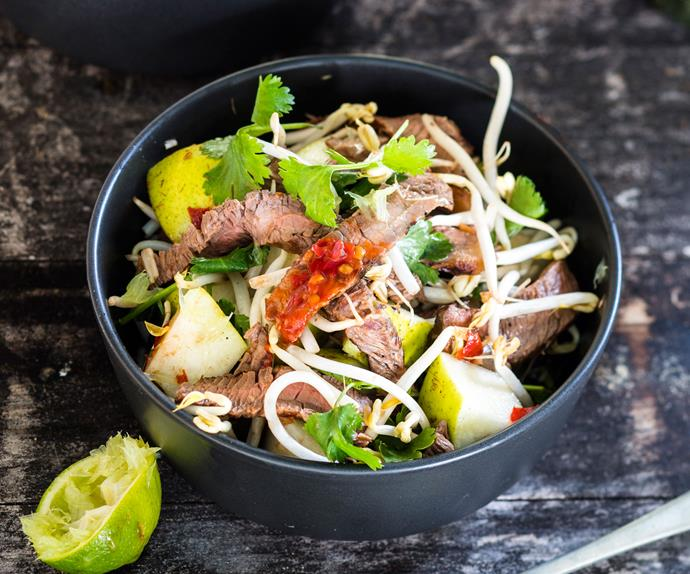 Spicy Thai beef with pears