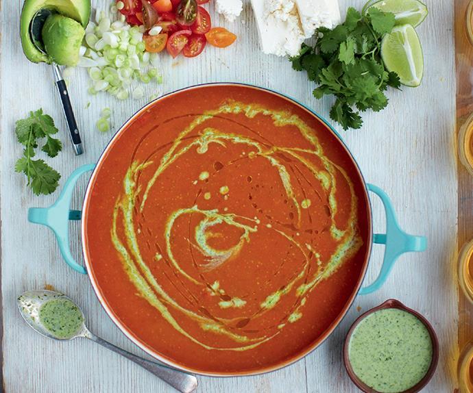Mexican tomato soup, chilli nachos and veggie & feta sprinkles