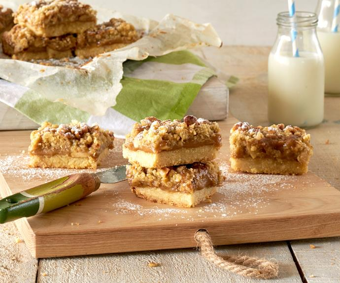Spiced toffee apple crumble slice