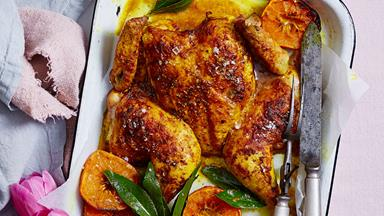 Buttery turmeric and mandarin roast chicken