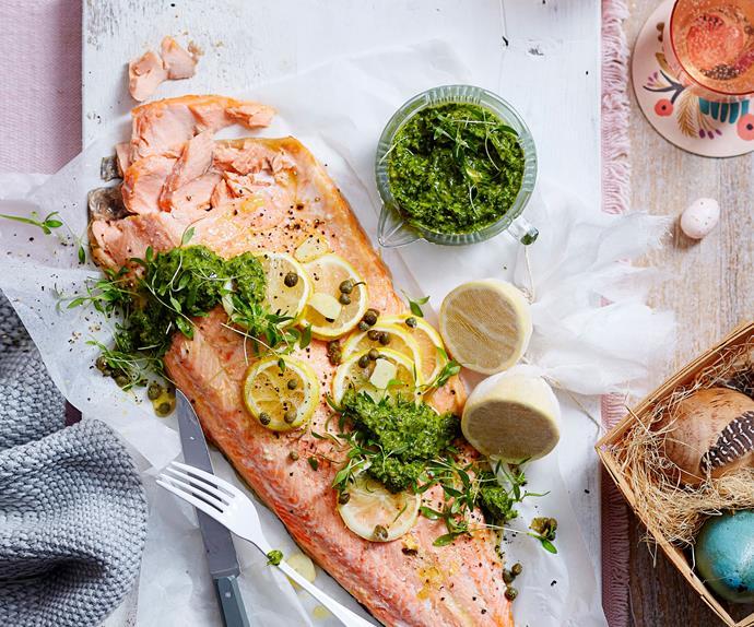 Salmon with salsa verde