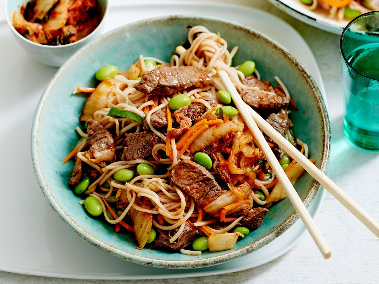 "Kimchi lends great flavour to this [beef noodle stir-fry.](http://www.foodtolove.co.nz/recipes/sesame-beef-edamame-and-kimchi-noodles-36806|target=""_blank"")"