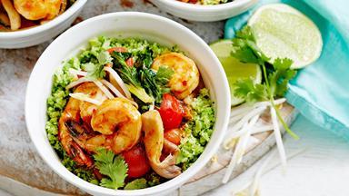 Tom yum prawn stir-fry with broccoli rice