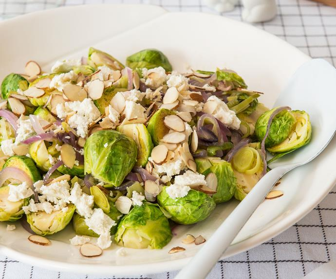 Warm Brussels sprout and leek salad