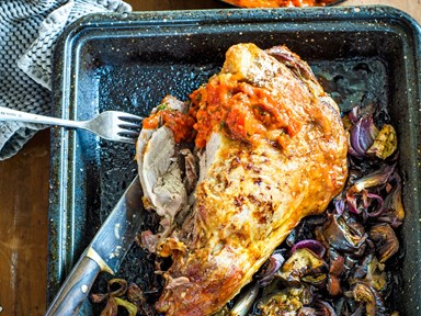 Roasted lamb and eggplants with tomato, parsley and anchovy sauce
