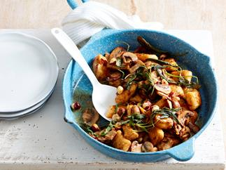 pumpkin gnocchi with mushrooms in shiitake butter