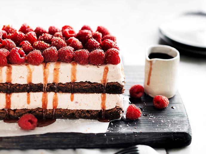 "**[Raspberry ice-cream brownie stack](https://www.womensweeklyfood.com.au/recipes/raspberry-ice-cream-brownie-stack-2145|target=""_blank"")**"