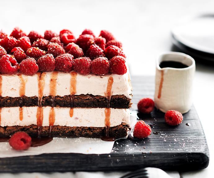 raspberry ice-cream brownie stack
