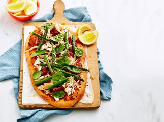 Chicken, asparagus and goat's cheese pizza