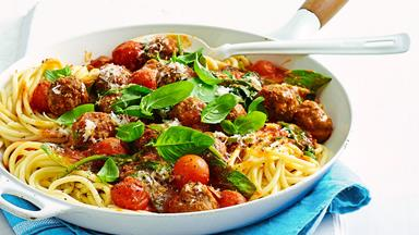 Cheesy stuffed meatballs and spaghetti