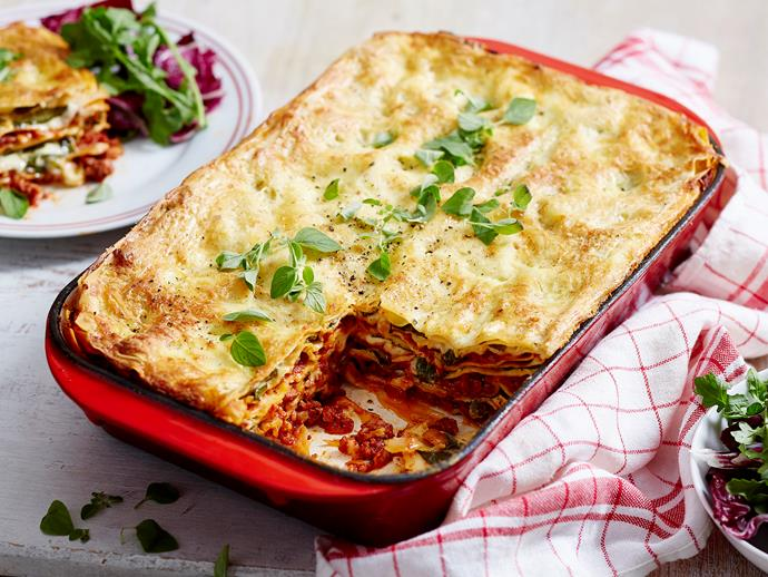 "**[Beef, spinach and ricotta lasagne](https://www.womensweeklyfood.com.au/recipes/beef-spinach-and-ricotta-lasagne-2131|target=""_blank"")**  Hearty Italian dinners don't get much better than a filling lasagne and this one's easier than you think! With a saucy beef mince and ricotta sauce layered between fresh pasta sheets, it's sure to be a hit."