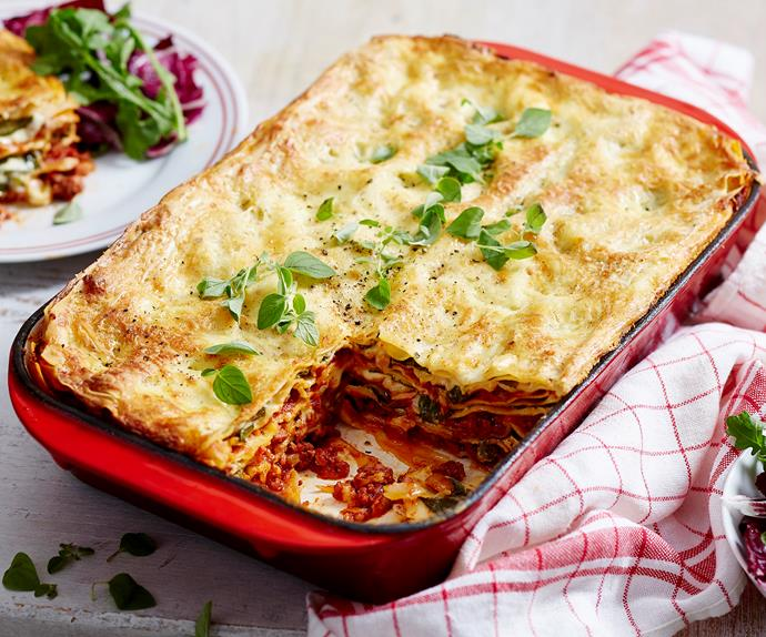 Beef, spinach and ricotta lasagne