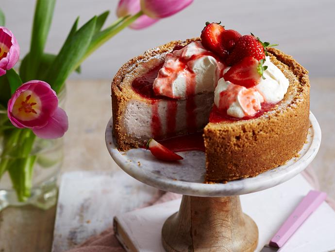 "**[Baked strawberry cheesecake](https://www.womensweeklyfood.com.au/recipes/baked-strawberry-cheesecake-2146|target=""_blank"")**  You can't go wrong with a classic cheesecake and our delicious strawberry baked recipe is the perfect pick. Serve it topped with cream and fresh strawberries for a stunning centrepiece."