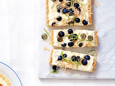 Coconut, lime and blueberry cheesecake tart