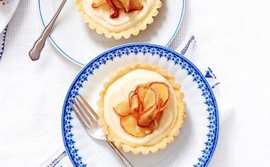 Brandy custard and toffee apple tarts