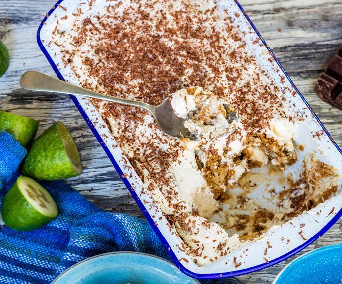 Feijoa ginger mascarpone pudding