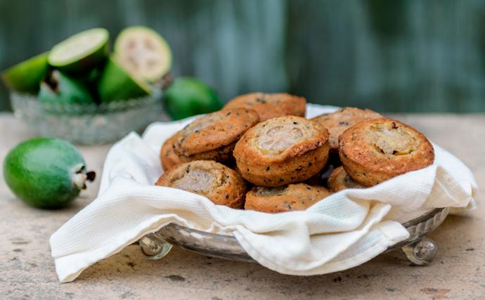 Feijoa, lime and poppy seed muffins