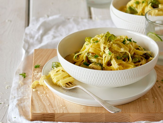 Tagliatelle alfredo with roasted sprouts