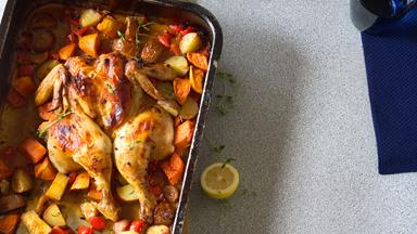 Rapid roast chicken with red skin potatoes and thyme
