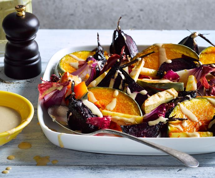 Roasted vegetables with tahini miso dressing