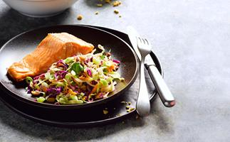 Seared salmon with miso slaw