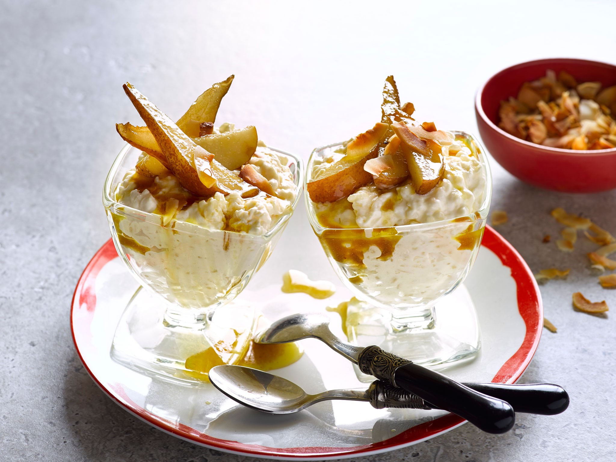 "[Caramelised pear and toasted coconut rice pudding](http://www.foodtolove.co.nz/recipes/caramelised-pear-and-toasted-coconut-rice-pudding-36912|target=""_blank"")"