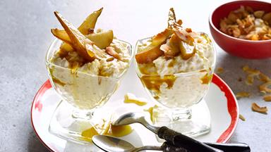 Caramelised pear and toasted coconut rice pudding