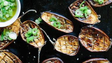 Miso-roasted eggplant with spring onion dressing