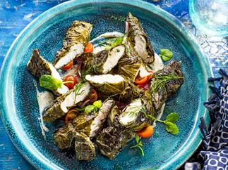 Fish fillets baked in vine leaves with dill yoghurt sauce and fennel salad