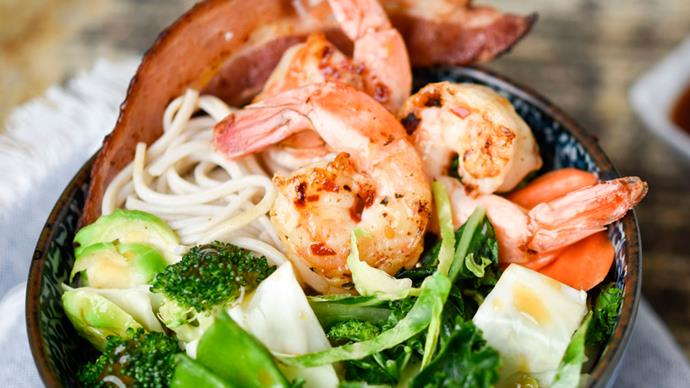 Taylor Farms Ginger Garlic Kit with shrimp, bacon and soba noodles