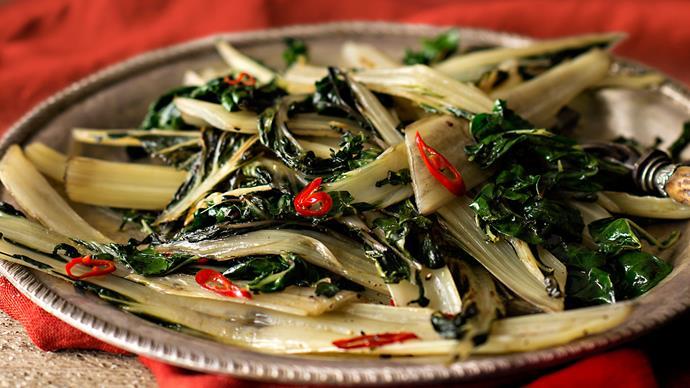 Warm salad of silverbeet stems, chilli and garlic